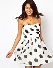 TFNC Pleated Chiffon Bandeau Skater Dress In Polka Dot Print