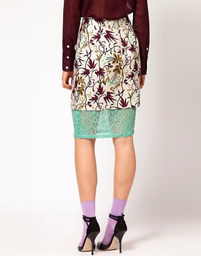 Image 2 ofNahm Layered Pencil Skirt in Light Floral Print