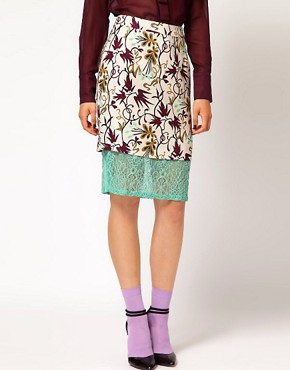 Image 4 ofNahm Layered Pencil Skirt in Light Floral Print