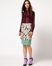 Nahm Layered Pencil Skirt in Light Floral Print