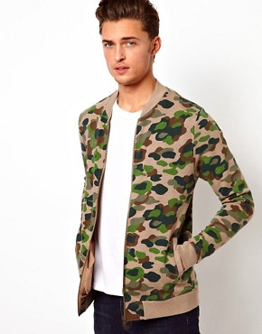 Image 1 ofASOS Bomber With Camo Print
