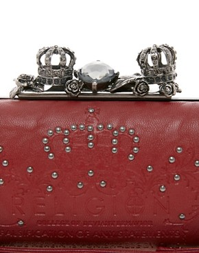 Image 4 ofReligion Embellished Crown Hard Clutch Bag