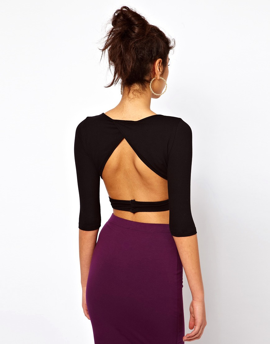 Image 2 of ASOS PETITE Exclusive Crop Top With Cross Front And Cut Out Detail