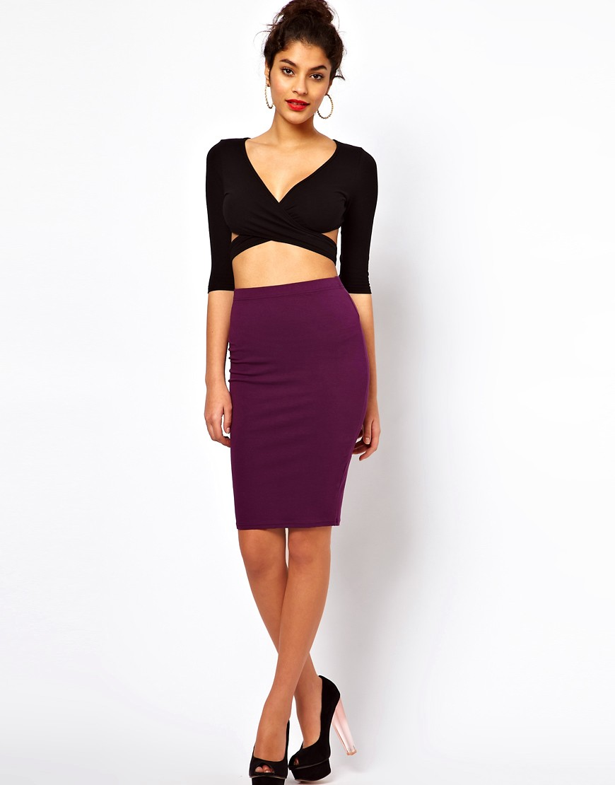 Image 4 of ASOS PETITE Exclusive Crop Top With Cross Front And Cut Out Detail