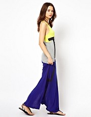 River Island Maxi Vest Beach Dress in Neon Tribal Colour Block