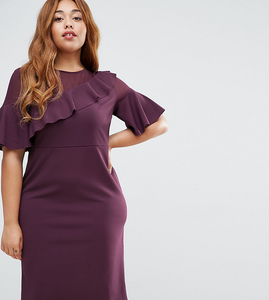 Photo of ASOS CURVE Wiggle Dress With Woven Sheer Panel And Frill Detail - shop ASOS Curve jumpsuits