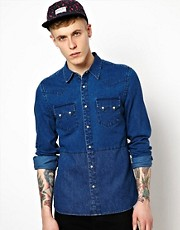 ASOS Denim Shirt With Panel Detailing