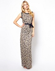 Mango Metallic Paisley Print Maxi Dress
