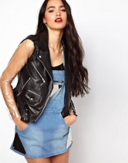 The Ragged Priest Leather Jacket with PVC Sleeves