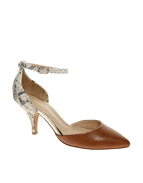 Image 1 ofALDO Heliette Snake Print Ankle Strap Court Shoes