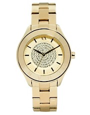 Armani Exchange Gold Watch With Diamante Circle Face