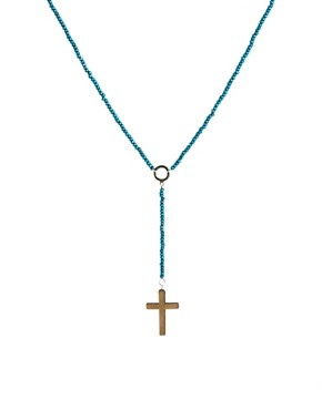 Image 1 ofASOS Wooden Bead Crucifix Necklace