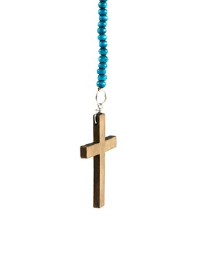 Image 4 ofASOS Wooden Bead Crucifix Necklace