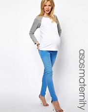 ASOS Maternity Elgin Skinny Jean in Washed Cornflower Blue