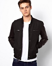 Selected Bomber Jacket With Leather Sleeves