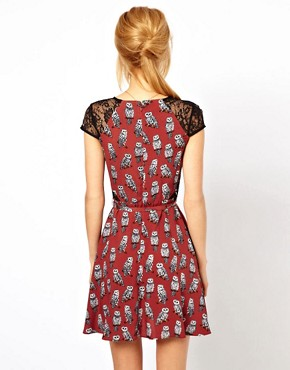 Image 2 ofASOS PETITE Exclusive Dress In Owl Print With Lace Inserts And Belt