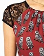 Image 3 ofASOS PETITE Exclusive Dress In Owl Print With Lace Inserts And Belt