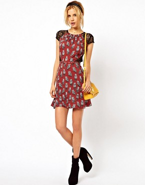 Image 4 ofASOS PETITE Exclusive Dress In Owl Print With Lace Inserts And Belt