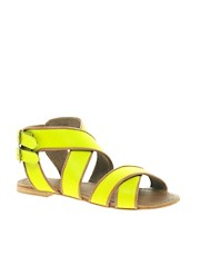 London Rebel Leather Flat Sandal