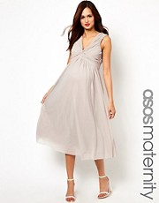ASOS Maternity &ndash; Exklusives Midikleid mit Knotendesign vorne und V-Ausschnitt hinten