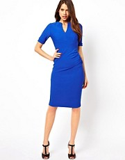 Vesper Pencil Dress with Plunge Neck In Jersey Rib