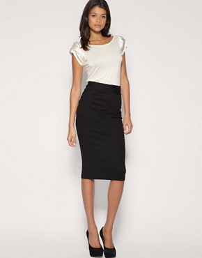 Image 1 ofASOS Ponti Pencil Skirt With Pleat Detail