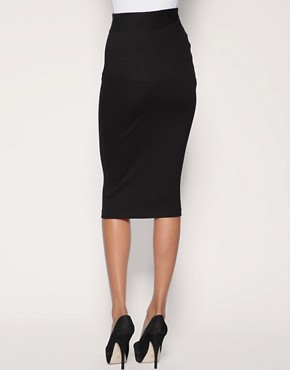 Image 2 ofASOS Ponti Pencil Skirt With Pleat Detail