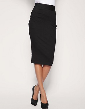 Image 4 ofASOS Ponti Pencil Skirt With Pleat Detail