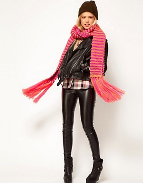 Image 3 ofASOS Neon And Metallic Knit Tassel Scarf