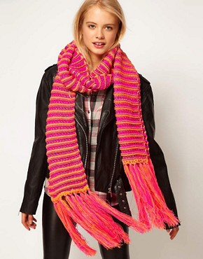Image 1 ofASOS Neon And Metallic Knit Tassel Scarf