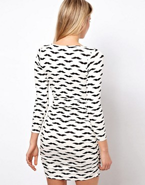 Image 2 ofASOS PETITE Exclusive Bodycon Dress In Moustache Print With Ruched Side