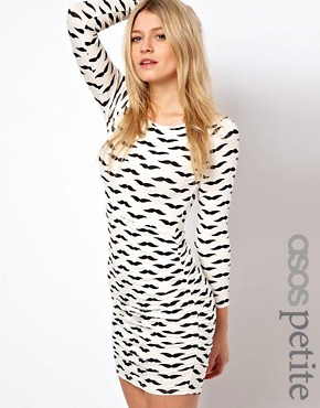 Image 1 ofASOS PETITE Exclusive Bodycon Dress In Moustache Print With Ruched Side