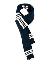 Plectrum By Ben Sherman Tuck Stripe Scarf Knitted Wool