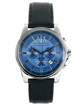 Image 1 ofArmani Exchange Chronograph Leather Strap Watch AX2097