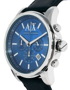 Image 4 ofArmani Exchange Chronograph Leather Strap Watch AX2097