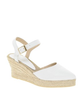 Image 1 ofASOS HIGHLIFE Leather Pointed Espadrille Wedges