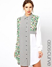 ASOS CURVE - Vestito chemisier a righe e a fiori