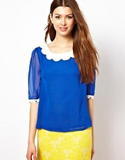 Max C Blouse With Scallop Collar