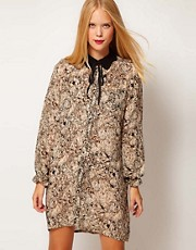 Selected Marble Print Shirt Dress with Contrast Collar Detail