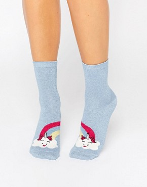 ASOS Unicorn Cloud And Rainbow Ankle Socks