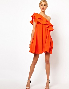 Image 4 ofASOS Sundress Dress With Extreme One Shoulder Frill