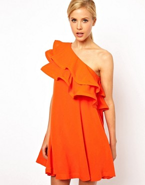 Image 1 ofASOS Sundress Dress With Extreme One Shoulder Frill