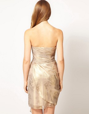 Image 2 ofCoast Metallic Bandeau Overlay Drape Dress
