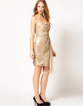 Image 4 ofCoast Metallic Bandeau Overlay Drape Dress