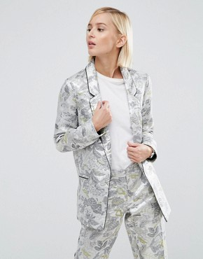 ASOS Longerline Blazer In Metallic Jaquard
