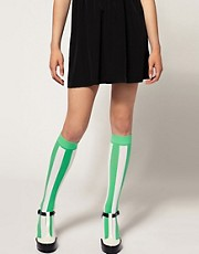 House Of Holland For Pretty Polly Exclusive To Asos Green Stripe Socks