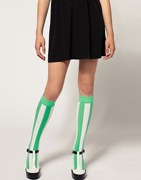 Image 1 ofHouse Of Holland For Pretty Polly Exclusive To Asos Green Stripe Socks
