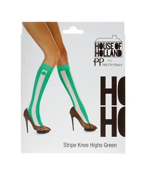 Image 3 ofHouse Of Holland For Pretty Polly Exclusive To Asos Green Stripe Socks