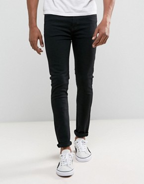 Dr Denim Jeans Leon Slim Tapered Black Rinse Wash