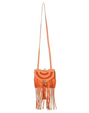 Image 1 ofRiver Island Fringe Leather Bag